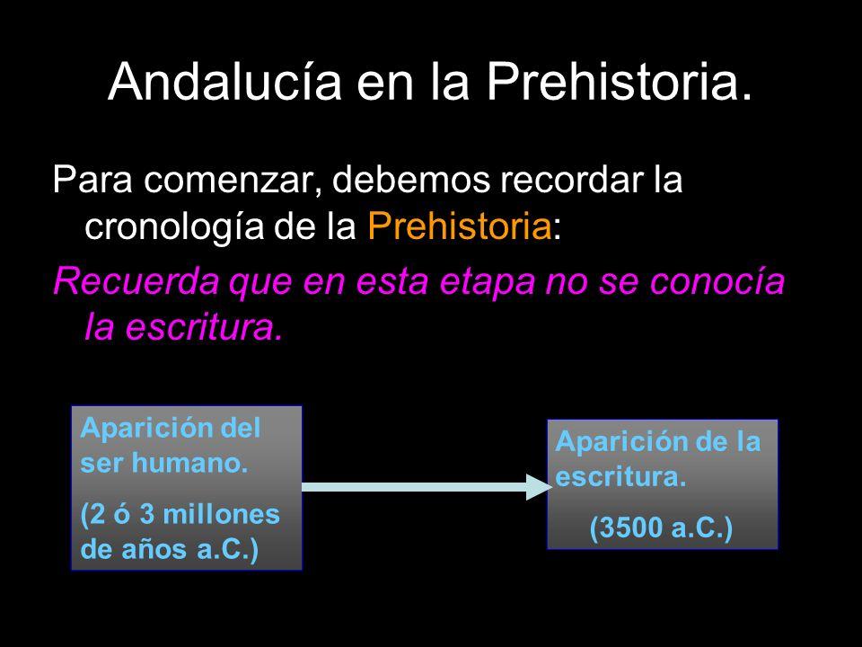 Andalucía en la Prehistoria. Para comenzar, debemos recordar la cronología de la Prehistoria: Recuerda que en esta etapa no se conocía la escritura. A