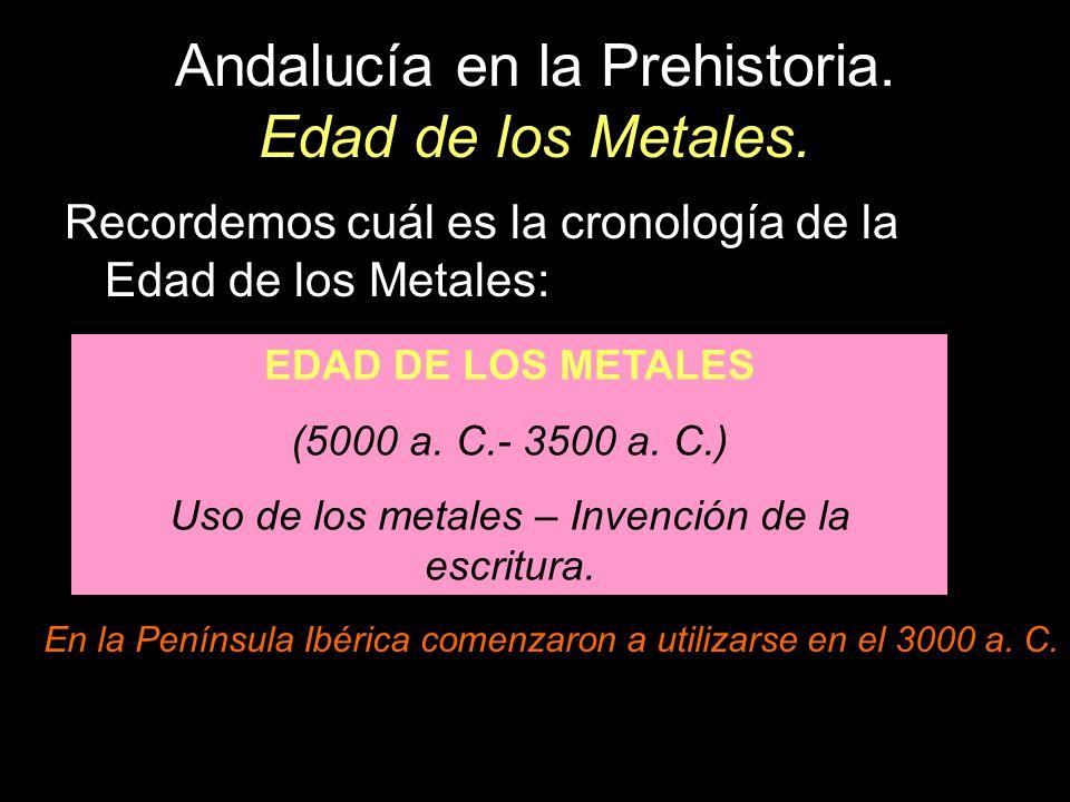Andalucía en la Prehistoria. Edad de los Metales. Recordemos cuál es la cronología de la Edad de los Metales: EDAD DE LOS METALES (5000 a. C.- 3500 a.