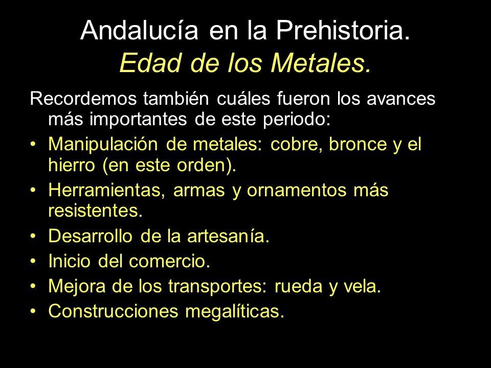 Andalucía en la Prehistoria. Edad de los Metales. Recordemos también cuáles fueron los avances más importantes de este periodo: Manipulación de metale