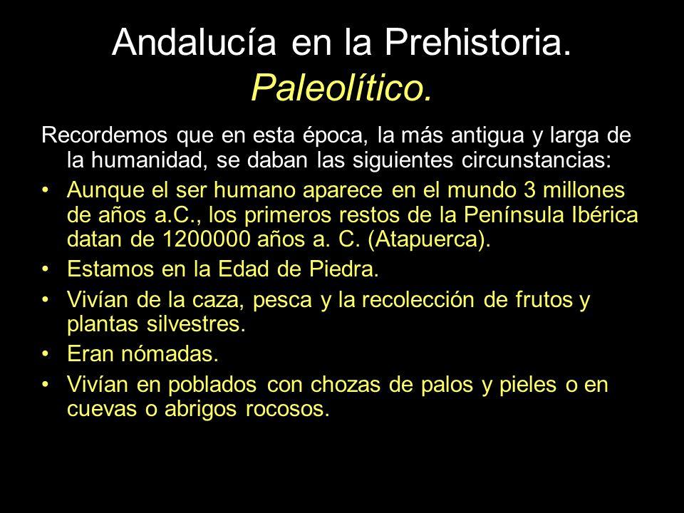 Andalucía en la Prehistoria. Paleolítico. Recordemos que en esta época, la más antigua y larga de la humanidad, se daban las siguientes circunstancias
