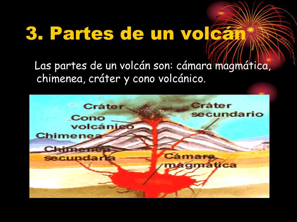 3. Partes de un volcán Las partes de un volcán son: cámara magmática, chimenea, cráter y cono volcánico.