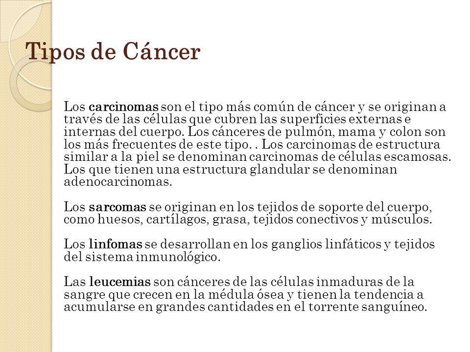 Tipos de Cáncer Los carcinomas son el tipo más común de cáncer y se originan a través de las células que cubren las superficies externas e internas de