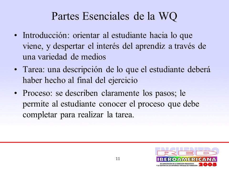 11 Partes Esenciales de la WQ Introducción: orientar al estudiante hacia lo que viene, y despertar el interés del aprendiz a través de una variedad de