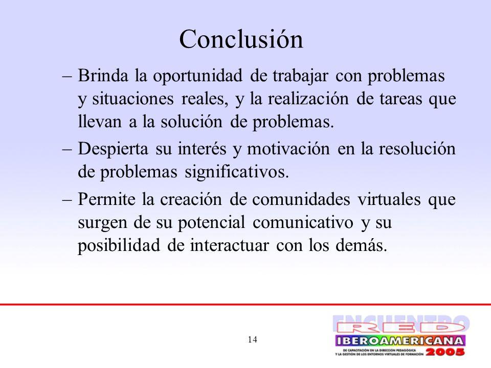 14 Conclusión –Brinda la oportunidad de trabajar con problemas y situaciones reales, y la realización de tareas que llevan a la solución de problemas.