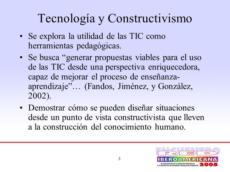 4 Tecnología y Constructivismo Constructivismo: uno de los procesos que puede servir de guía filosófica en el currículo educativo para el uso efectivo de la tecnología.