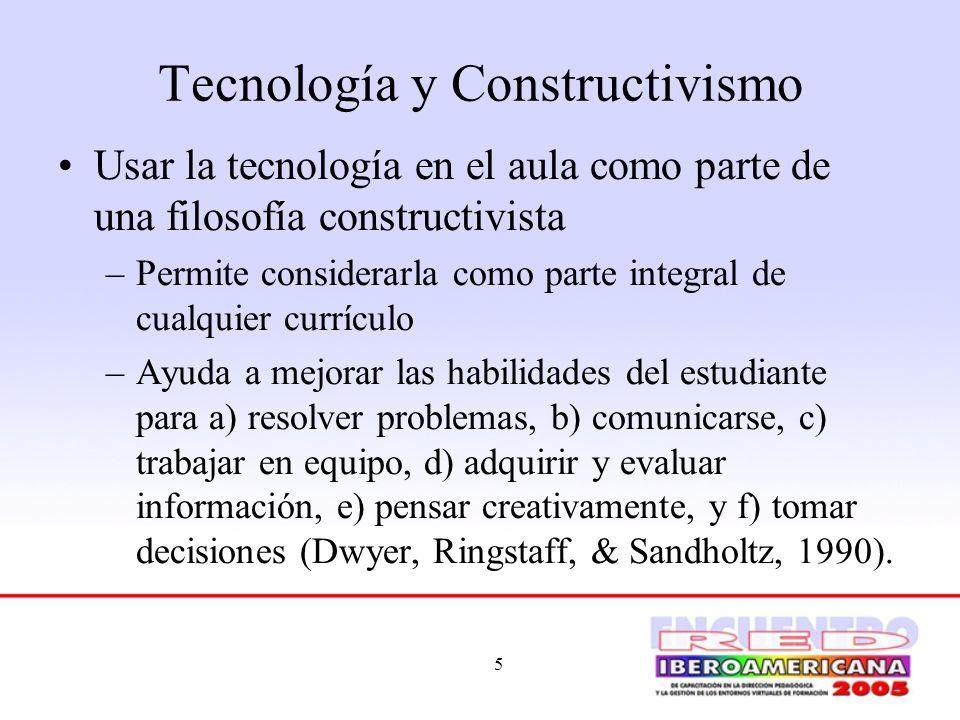 6 Tecnología y Constructivismo Los proyectos constructivistas apoyados en el computador pueden tomar varias formas.