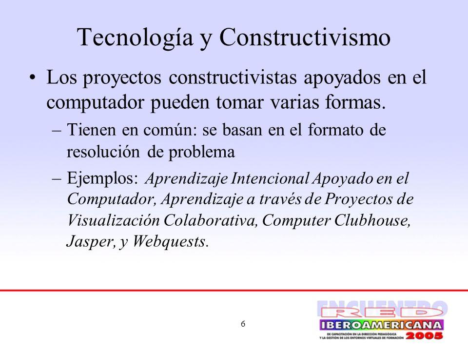 6 Tecnología y Constructivismo Los proyectos constructivistas apoyados en el computador pueden tomar varias formas. –Tienen en común: se basan en el f