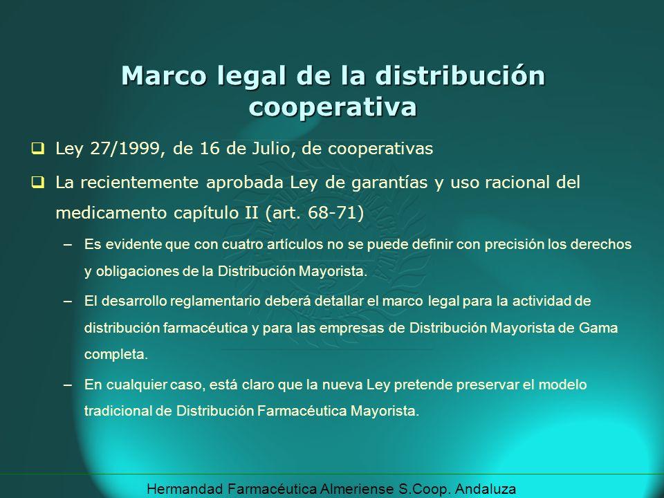 Hermandad Farmacéutica Almeriense S.Coop. Andaluza Marco legal de la distribución cooperativa Ley 27/1999, de 16 de Julio, de cooperativas La reciente