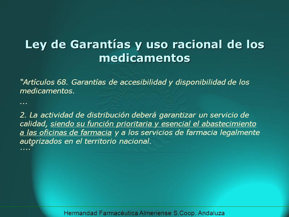 Hermandad Farmacéutica Almeriense S.Coop. Andaluza Ley de Garantías y uso racional de los medicamentos Artículos 68. Garantías de accesibilidad y disp