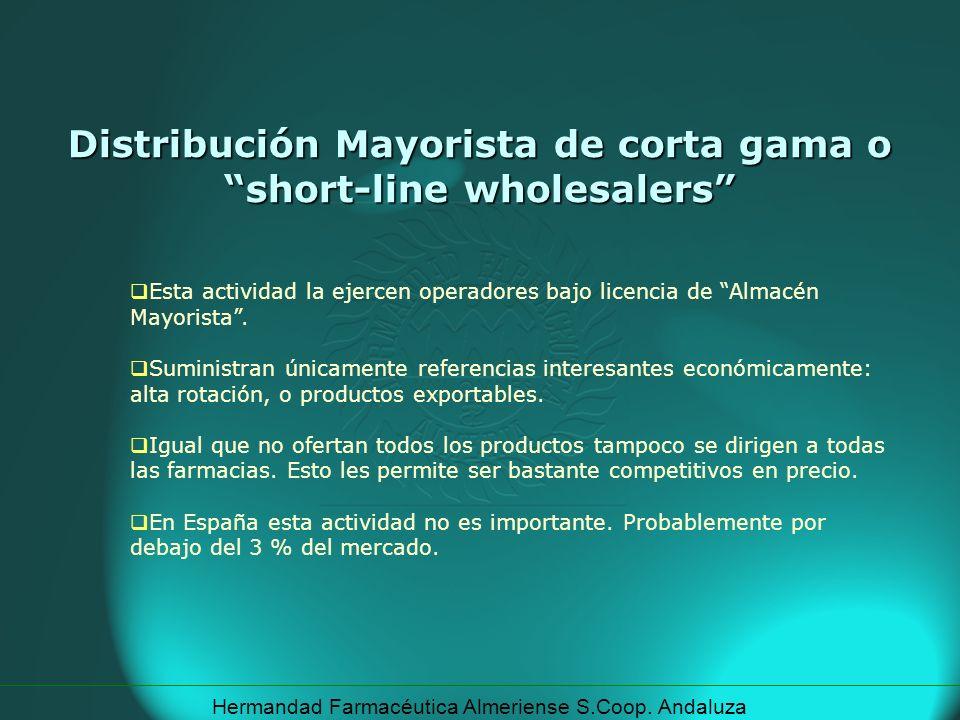 Hermandad Farmacéutica Almeriense S.Coop. Andaluza Esta actividad la ejercen operadores bajo licencia de Almacén Mayorista. Suministran únicamente ref