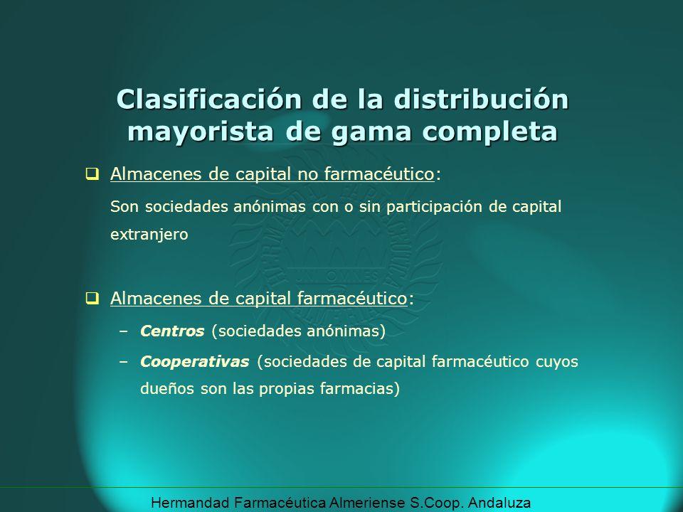 Hermandad Farmacéutica Almeriense S.Coop. Andaluza Clasificación de la distribución mayorista de gama completa Almacenes de capital no farmacéutico: S