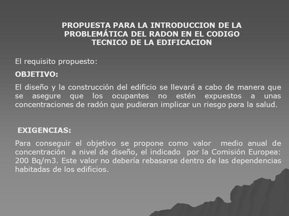 PROPUESTA PARA LA INTRODUCCION DE LA PROBLEMÁTICA DEL RADON EN EL CODIGO TECNICO DE LA EDIFICACION El requisito propuesto: OBJETIVO: El diseño y la co