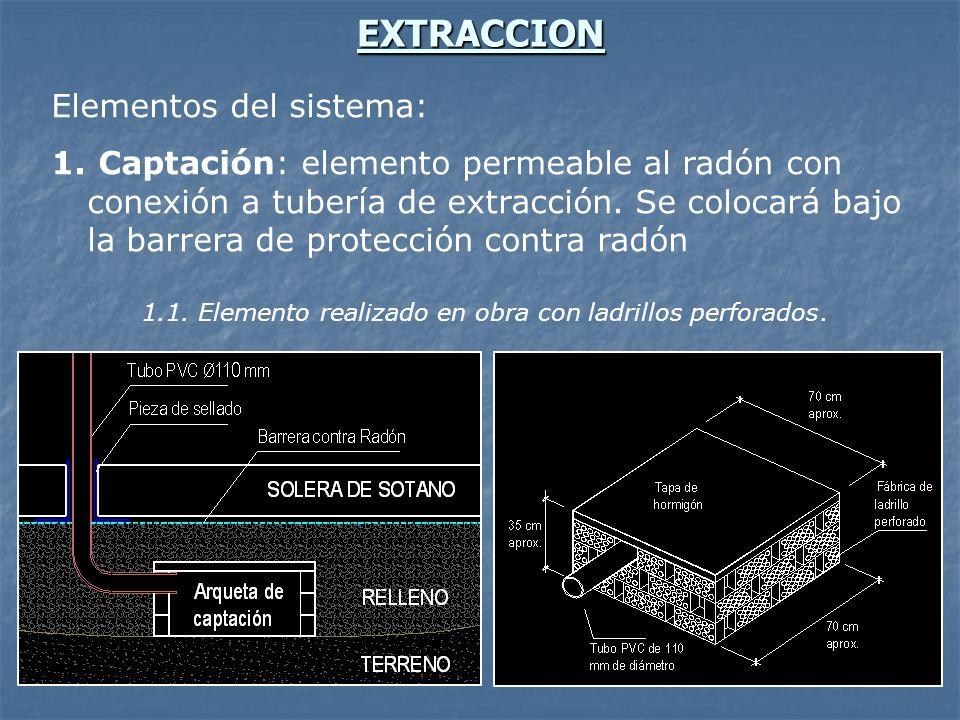 EXTRACCION Elementos del sistema: 1. Captación: elemento permeable al radón con conexión a tubería de extracción. Se colocará bajo la barrera de prote