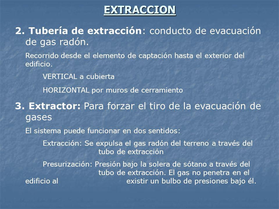 EXTRACCION 2. Tubería de extracción: conducto de evacuación de gas radón. Recorrido desde el elemento de captación hasta el exterior del edificio. VER