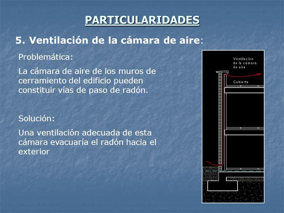 PARTICULARIDADES 5. Ventilación de la cámara de aire: Problemática: La cámara de aire de los muros de cerramiento del edificio pueden constituir vías