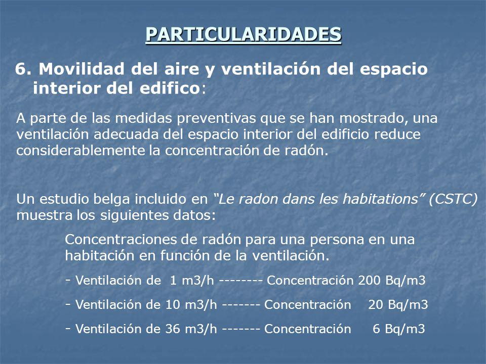 PARTICULARIDADES 6. Movilidad del aire y ventilación del espacio interior del edifico: A parte de las medidas preventivas que se han mostrado, una ven
