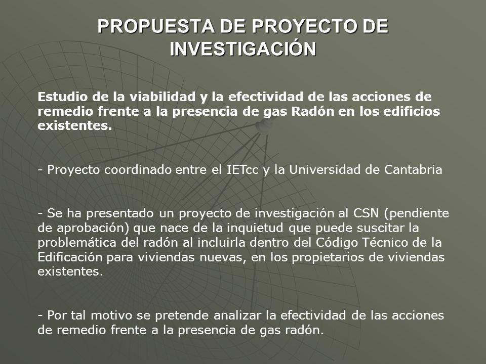 PROPUESTA DE PROYECTO DE INVESTIGACIÓN Estudio de la viabilidad y la efectividad de las acciones de remedio frente a la presencia de gas Radón en los