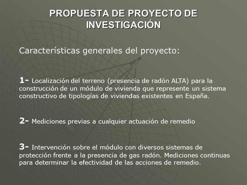 PROPUESTA DE PROYECTO DE INVESTIGACIÓN Características generales del proyecto: 1- Localización del terreno (presencia de radón ALTA) para la construcc