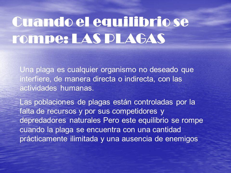 Cuando el equilibrio se rompe: LAS PLAGAS Una plaga es cualquier organismo no deseado que interfiere, de manera directa o indirecta, con las actividad