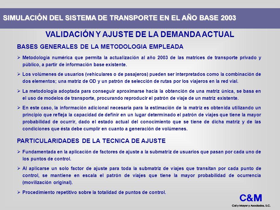 BASES GENERALES DE LA METODOLOGIA EMPLEADA Metodología numérica que permita la actualización al año 2003 de las matrices de transporte privado y públi