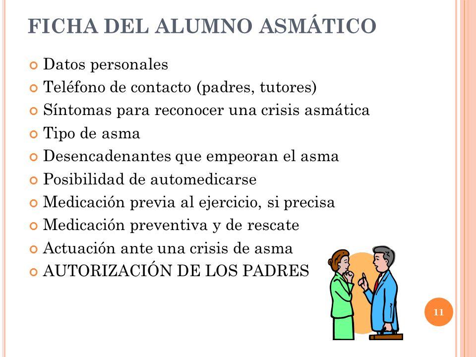 11 FICHA DEL ALUMNO ASMÁTICO Datos personales Teléfono de contacto (padres, tutores) Síntomas para reconocer una crisis asmática Tipo de asma Desencad