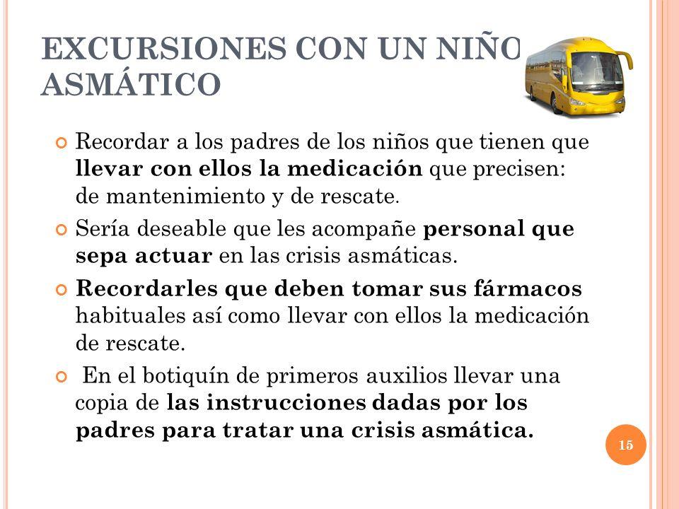 15 EXCURSIONES CON UN NIÑO ASMÁTICO Recordar a los padres de los niños que tienen que llevar con ellos la medicación que precisen: de mantenimiento y