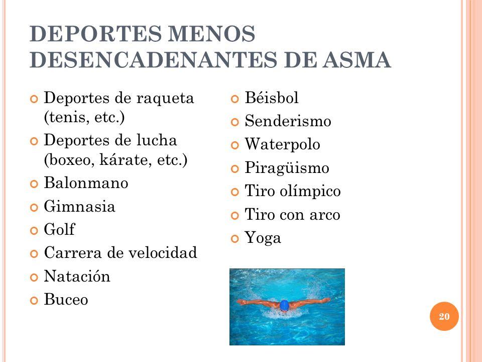 20 DEPORTES MENOS DESENCADENANTES DE ASMA Deportes de raqueta (tenis, etc.) Deportes de lucha (boxeo, kárate, etc.) Balonmano Gimnasia Golf Carrera de