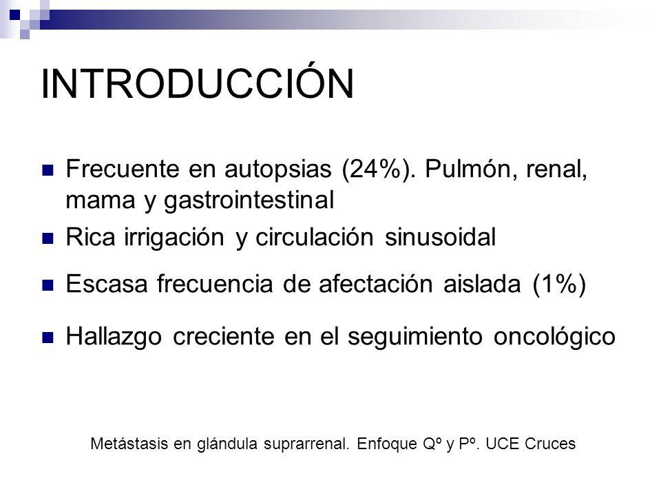INTRODUCCIÓN Frecuente en autopsias (24%). Pulmón, renal, mama y gastrointestinal Rica irrigación y circulación sinusoidal Escasa frecuencia de afecta