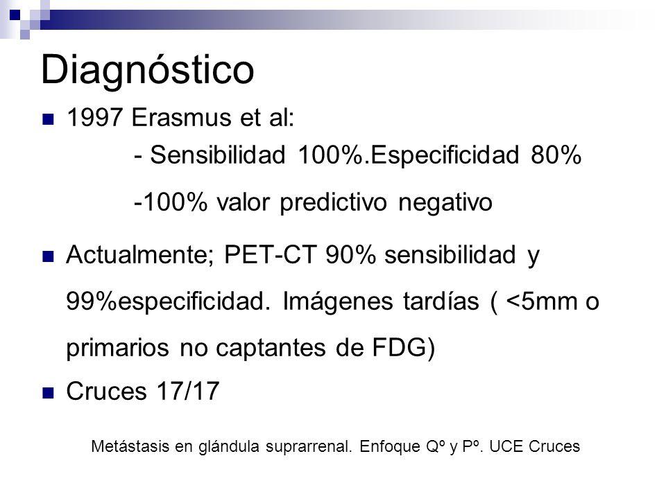 Diagnóstico 1997 Erasmus et al: - Sensibilidad 100%.Especificidad 80% -100% valor predictivo negativo Actualmente; PET-CT 90% sensibilidad y 99%especi
