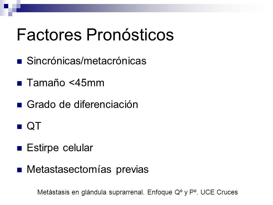 Factores Pronósticos Sincrónicas/metacrónicas Tamaño <45mm Grado de diferenciación QT Estirpe celular Metastasectomías previas Metástasis en glándula