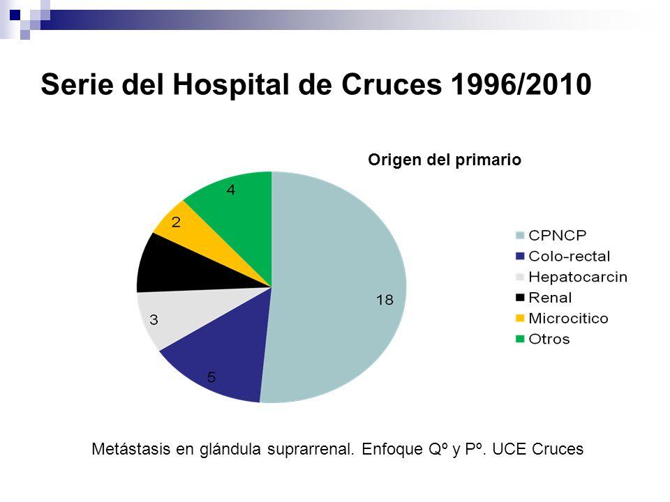 Serie del Hospital de Cruces 1996/2010 4 metastasectomía previa(2 hepáticas y 2 cerebrales) 4 simultánea(hepáticas) 6 durante el seguimiento(2 cerebro,2 hígado,1páncreas,1pulmón) 6 Dº un segundo primario Metástasis en glándula suprarrenal.
