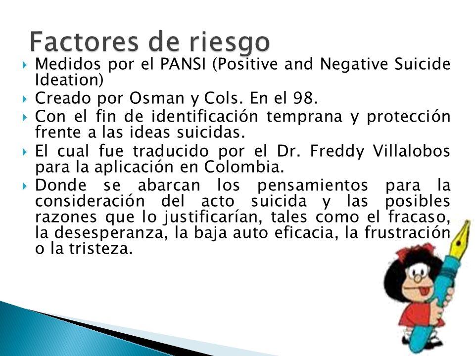 Medidos por el PANSI (Positive and Negative Suicide Ideation) Creado por Osman y Cols. En el 98. Con el fin de identificación temprana y protección fr