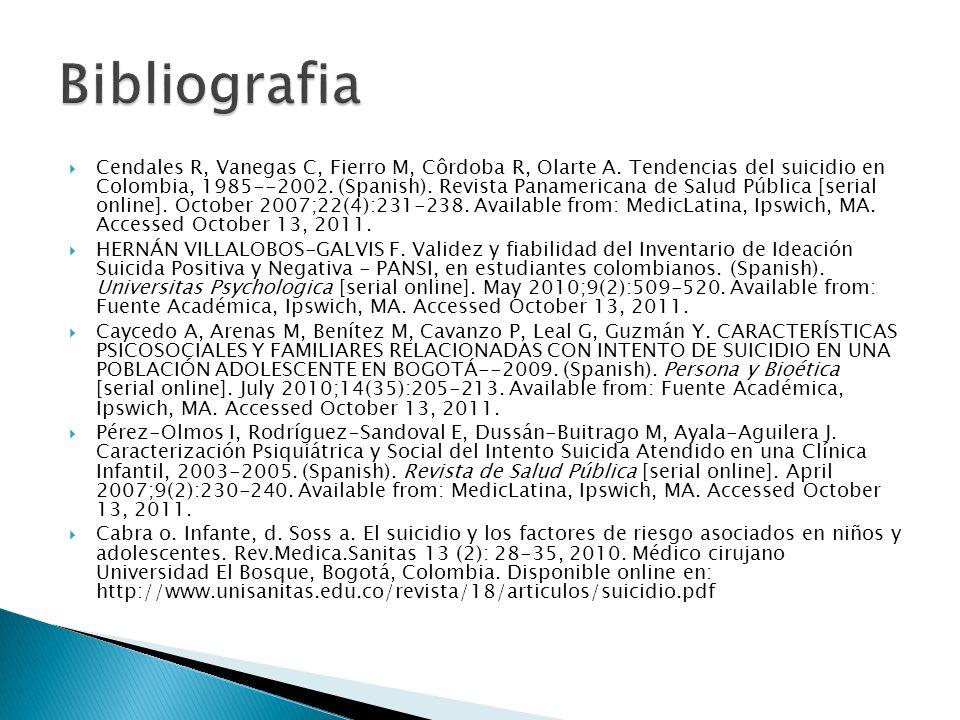 Cendales R, Vanegas C, Fierro M, Côrdoba R, Olarte A. Tendencias del suicidio en Colombia, 1985--2002. (Spanish). Revista Panamericana de Salud Públic