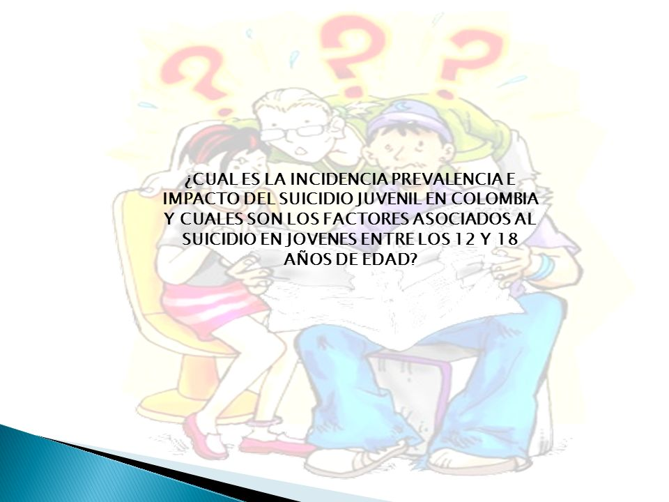 ¿CUAL ES LA INCIDENCIA PREVALENCIA E IMPACTO DEL SUICIDIO JUVENIL EN COLOMBIA Y CUALES SON LOS FACTORES ASOCIADOS AL SUICIDIO EN JOVENES ENTRE LOS 12