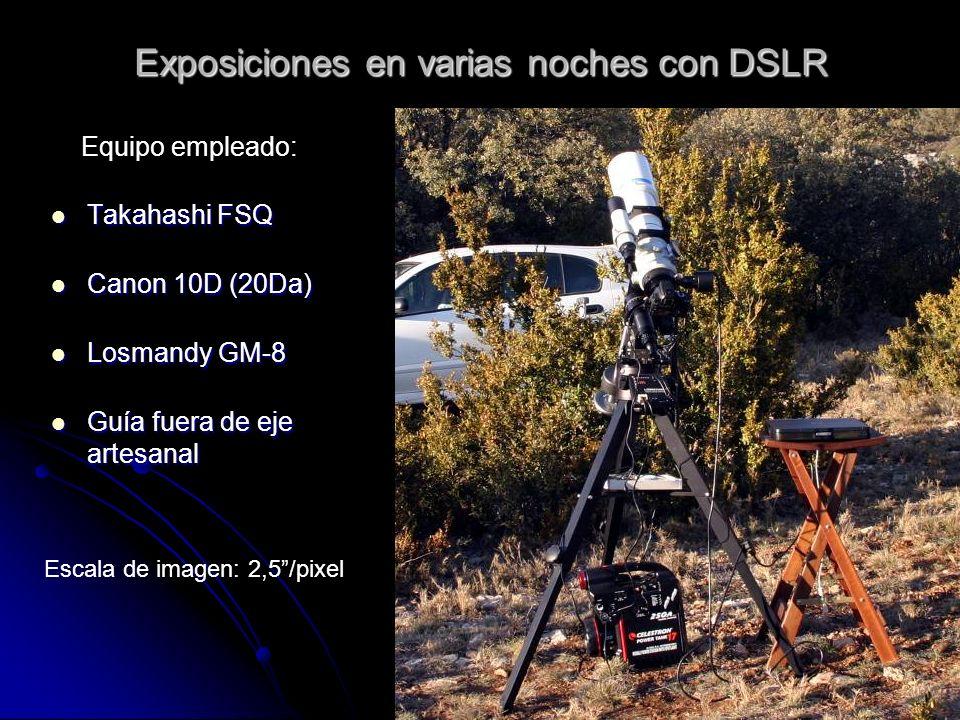 Exposiciones en varias noches con DSLR Takahashi FSQ Takahashi FSQ Canon 10D (20Da) Canon 10D (20Da) Losmandy GM-8 Losmandy GM-8 Guía fuera de eje artesanal Guía fuera de eje artesanal Equipo empleado: Escala de imagen: 2,5/pixel
