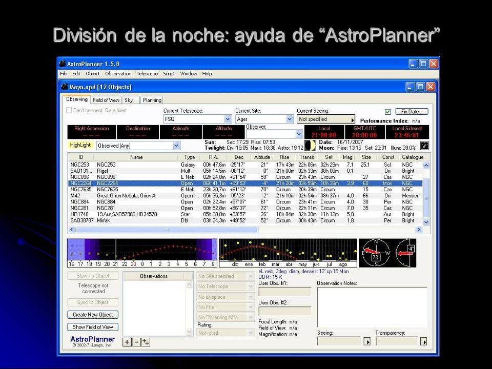 División de la noche: ayuda de AstroPlanner