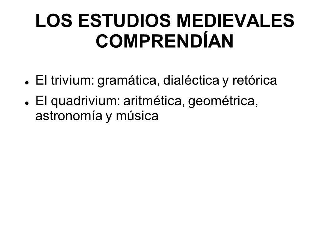 LOS ESTUDIOS MEDIEVALES COMPRENDÍAN El trivium: gramática, dialéctica y retórica El quadrivium: aritmética, geométrica, astronomía y música