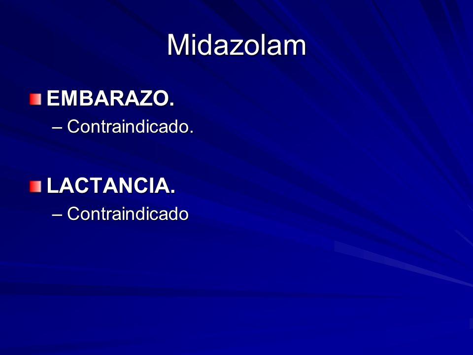 Midazolam EMBARAZO. –Contraindicado. LACTANCIA. –Contraindicado
