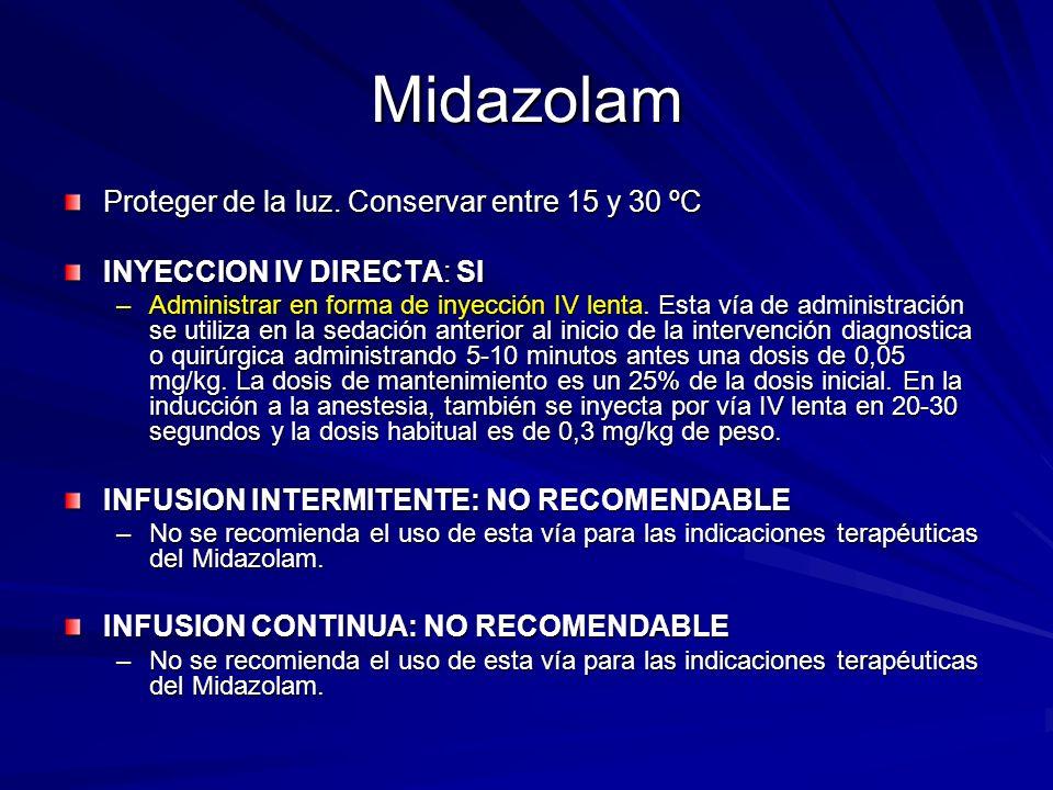 Midazolam Proteger de la luz. Conservar entre 15 y 30 ºC INYECCION IV DIRECTA: SI –Administrar en forma de inyección IV lenta. Esta vía de administrac