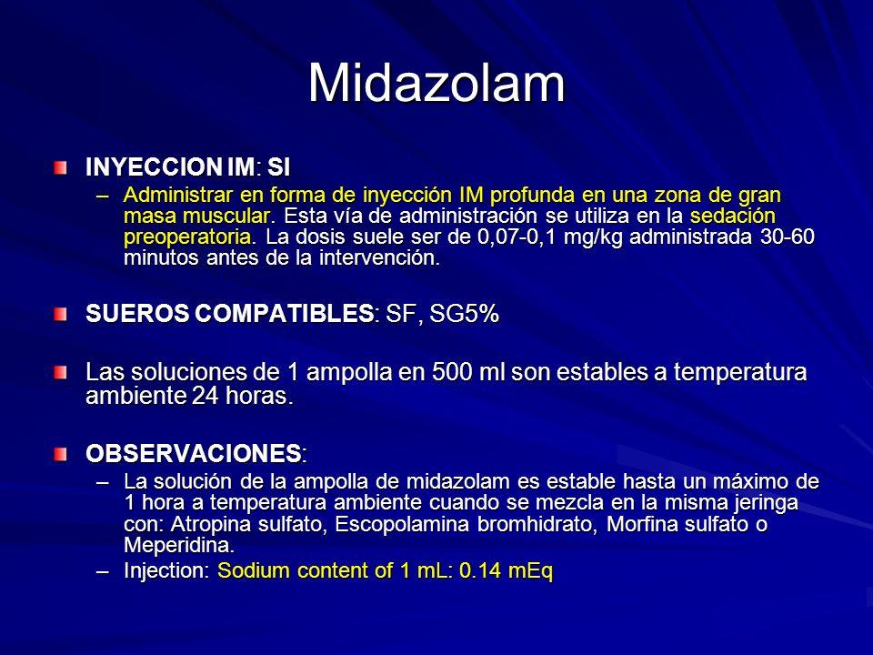 Midazolam INYECCION IM: SI –Administrar en forma de inyección IM profunda en una zona de gran masa muscular. Esta vía de administración se utiliza en