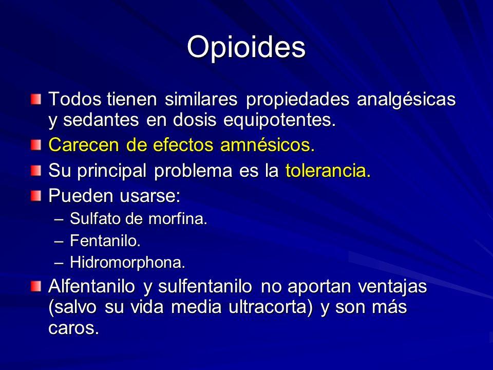 Opioides Todos tienen similares propiedades analgésicas y sedantes en dosis equipotentes. Carecen de efectos amnésicos. Su principal problema es la to
