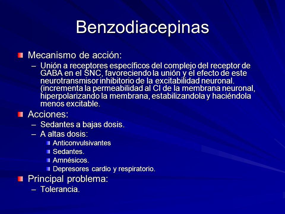 Benzodiacepinas Mecanismo de acción: –Unión a receptores específicos del complejo del receptor de GABA en el SNC, favoreciendo la unión y el efecto de