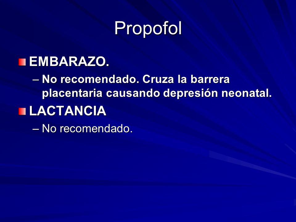 Propofol EMBARAZO. –No recomendado. Cruza la barrera placentaria causando depresión neonatal. LACTANCIA –No recomendado.
