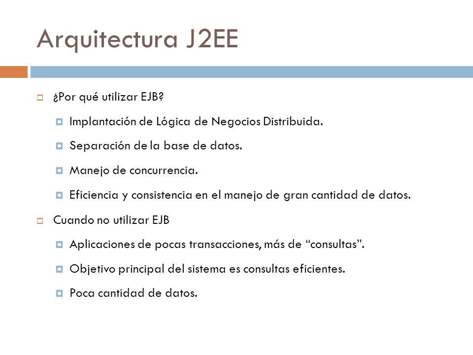 Arquitectura J2EE ¿Por qué utilizar EJB? Implantación de Lógica de Negocios Distribuida. Separación de la base de datos. Manejo de concurrencia. Efici