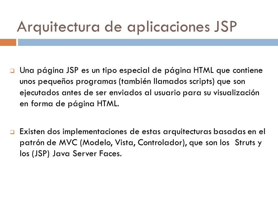 Arquitectura de aplicaciones JSP Una página JSP es un tipo especial de página HTML que contiene unos pequeños programas (también llamados scripts) que