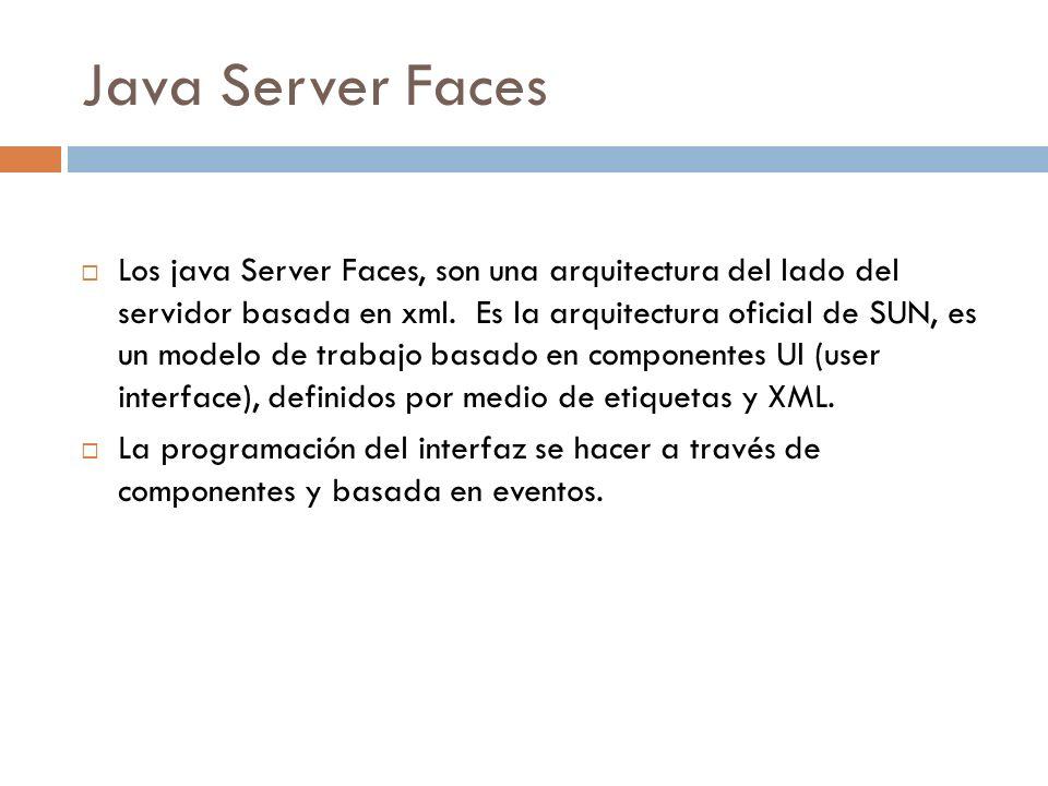 Java Server Faces Los java Server Faces, son una arquitectura del lado del servidor basada en xml. Es la arquitectura oficial de SUN, es un modelo de