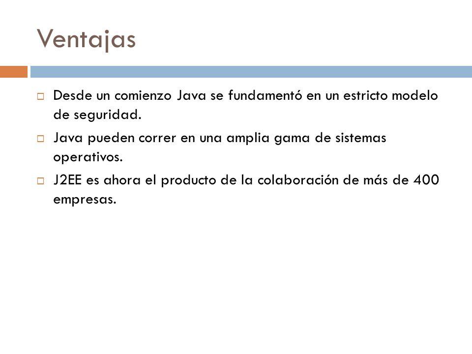 Ventajas Desde un comienzo Java se fundamentó en un estricto modelo de seguridad. Java pueden correr en una amplia gama de sistemas operativos. J2EE e