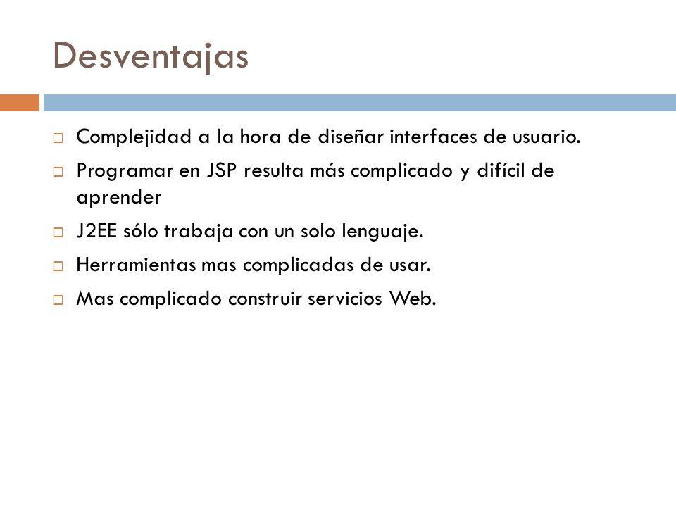 Desventajas Complejidad a la hora de diseñar interfaces de usuario. Programar en JSP resulta más complicado y difícil de aprender J2EE sólo trabaja co