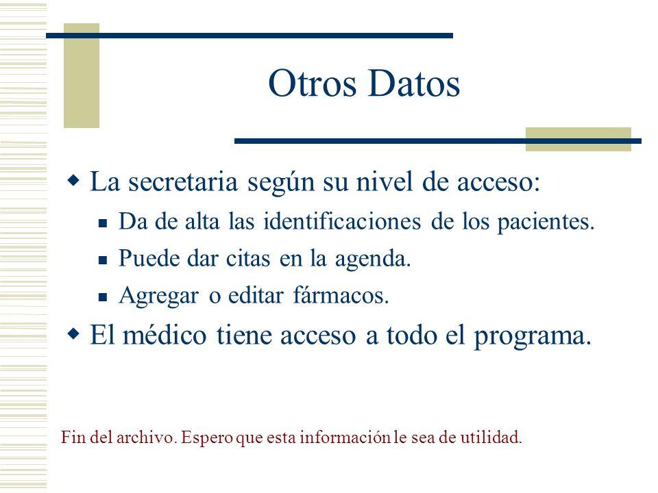 Otros Datos La secretaria según su nivel de acceso: Da de alta las identificaciones de los pacientes. Puede dar citas en la agenda. Agregar o editar f