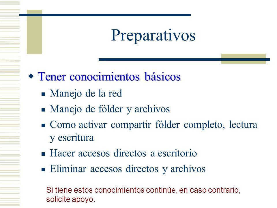 Preparativos Tener conocimientos básicos Tener conocimientos básicos Manejo de la red Manejo de fólder y archivos Como activar compartir fólder comple